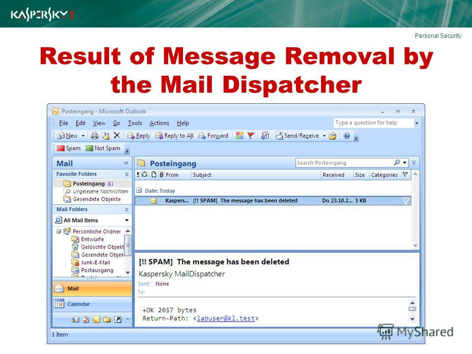 Result of Message Removal by the Mail Dispatcher Personal Security