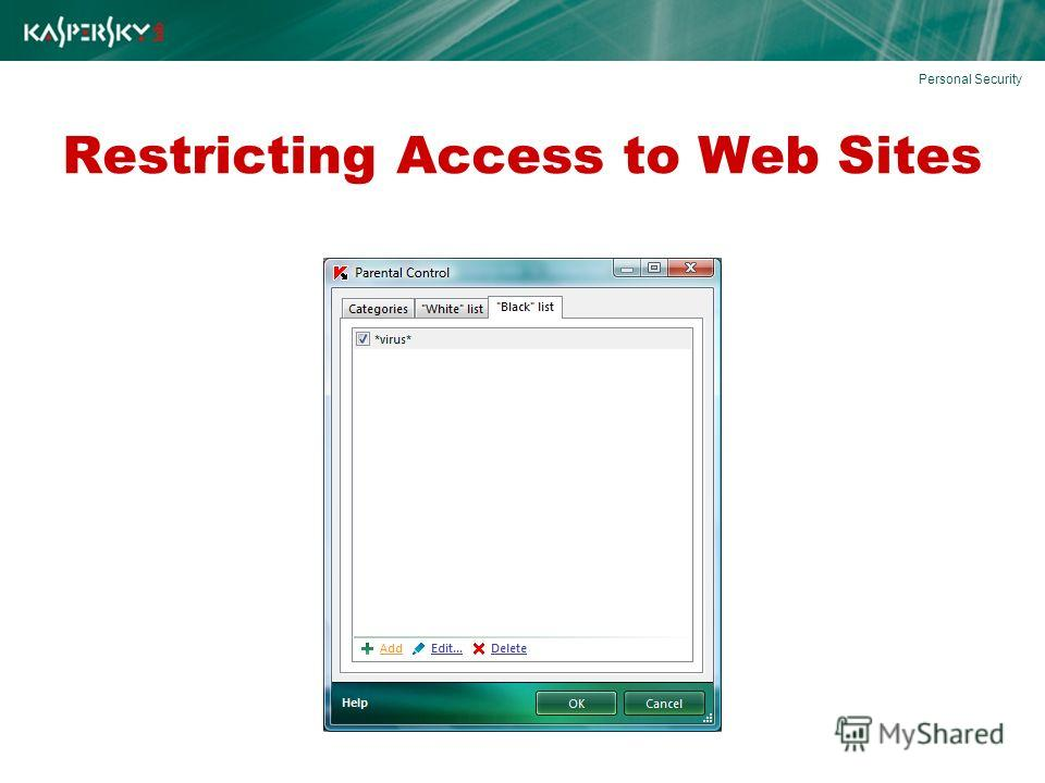 Restricting Access to Web Sites Personal Security