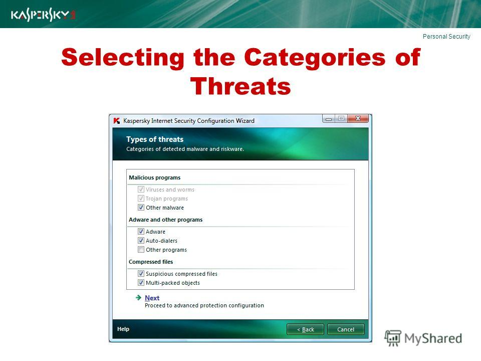 Selecting the Categories of Threats Personal Security