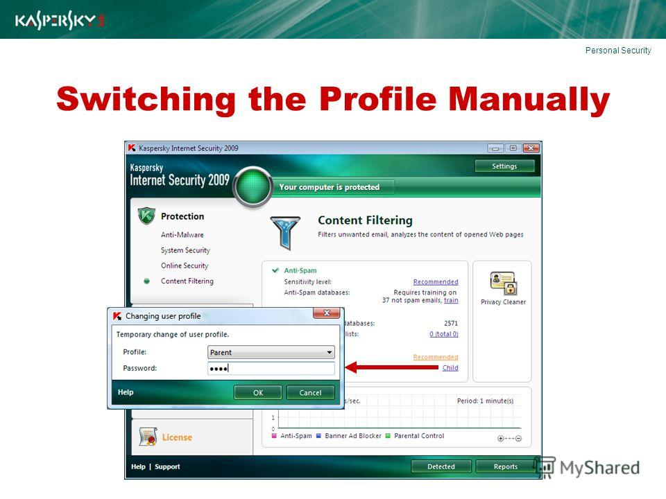 Switching the Profile Manually Personal Security