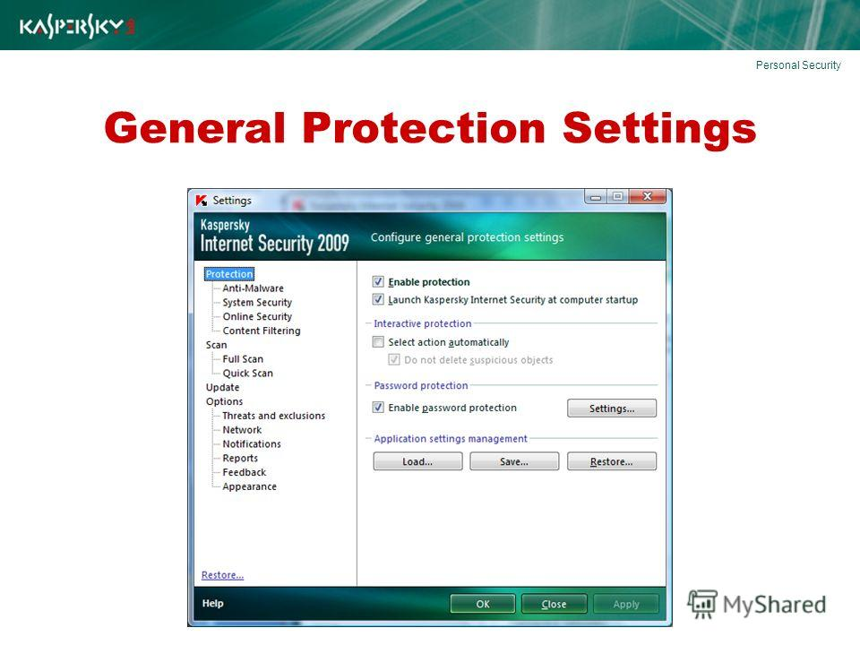 General Protection Settings Personal Security