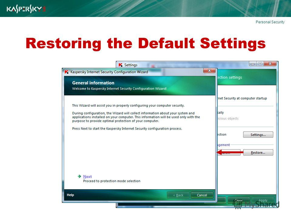 Restoring the Default Settings Personal Security