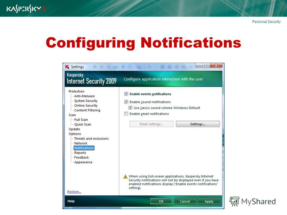Configuring Notifications Personal Security