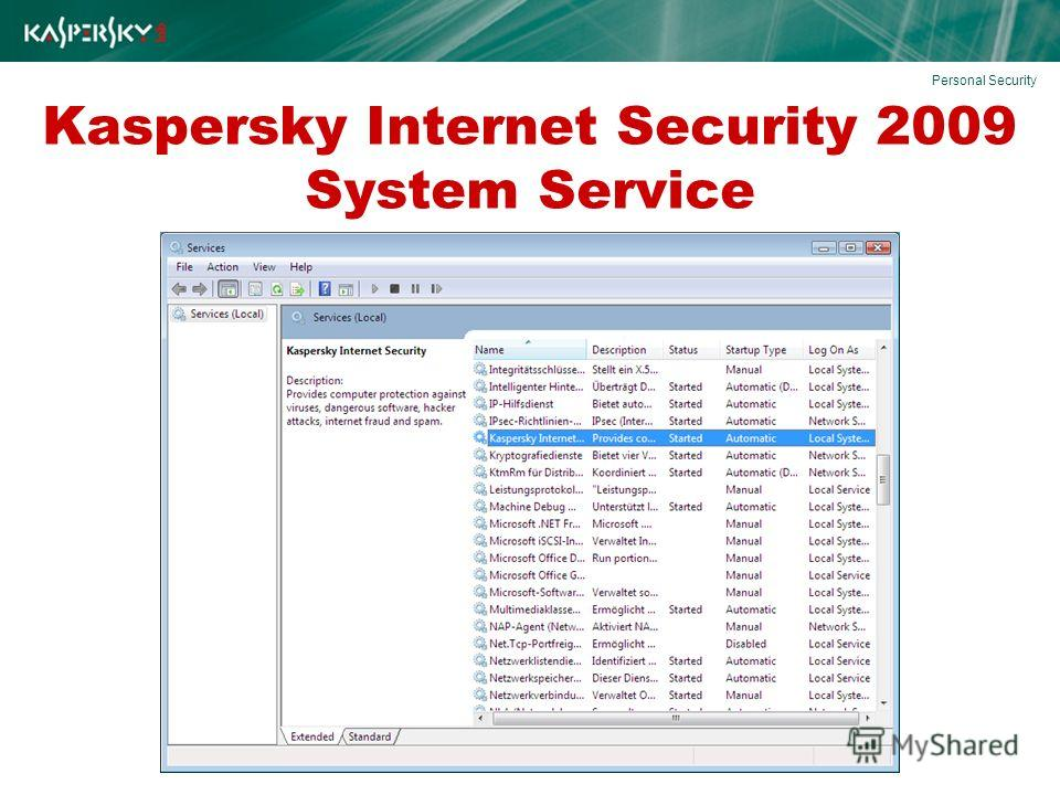 Kaspersky Internet Security 2009 System Service Personal Security