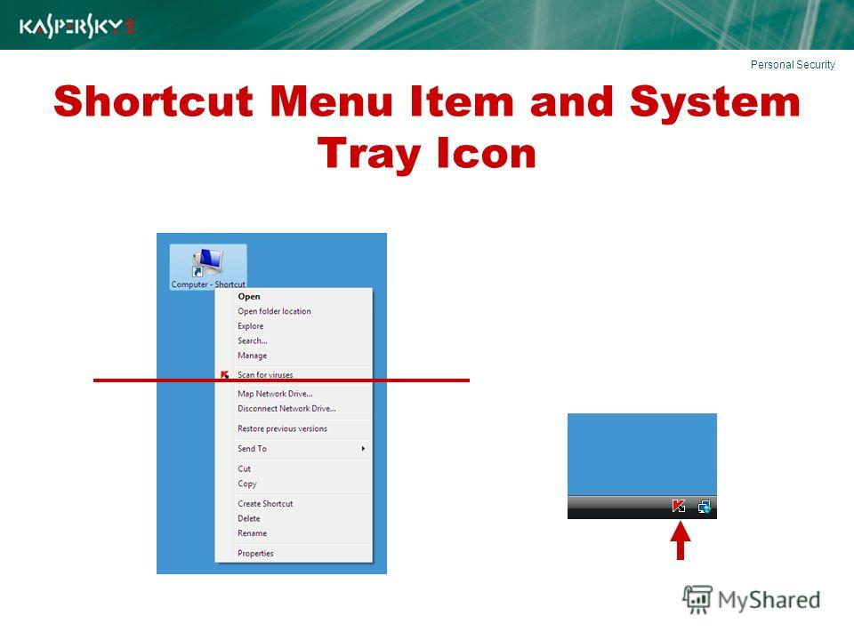 Shortcut Menu Item and System Tray Icon Personal Security