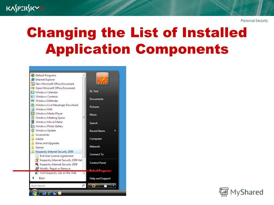 Changing the List of Installed Application Components Personal Security