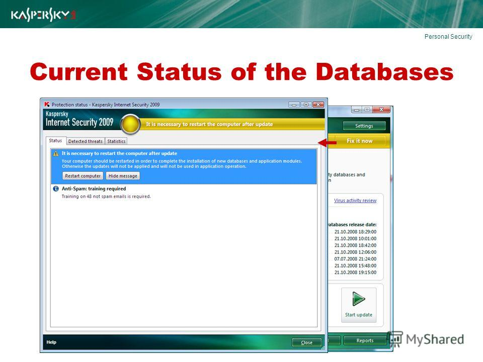 Current Status of the Databases Personal Security
