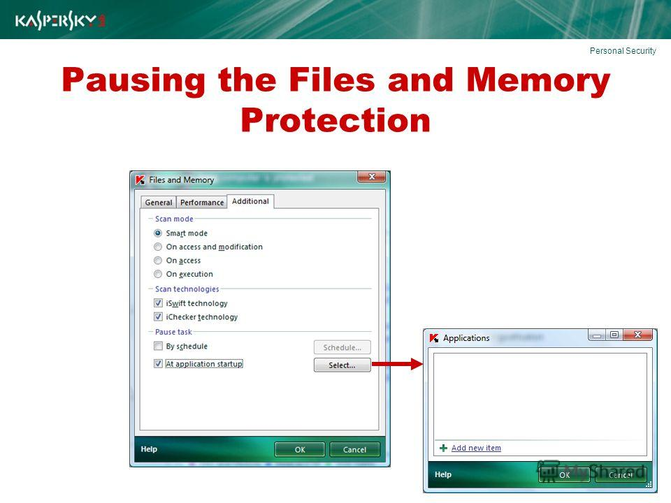 Pausing the Files and Memory Protection Personal Security