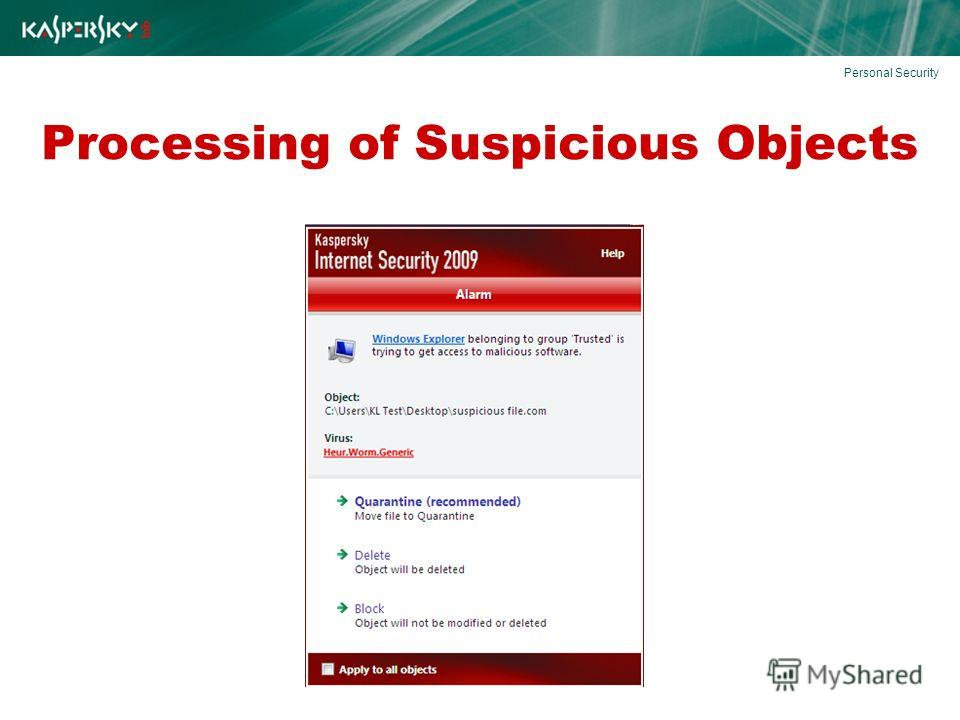 Processing of Suspicious Objects Personal Security