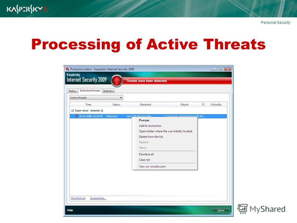 Processing of Active Threats Personal Security