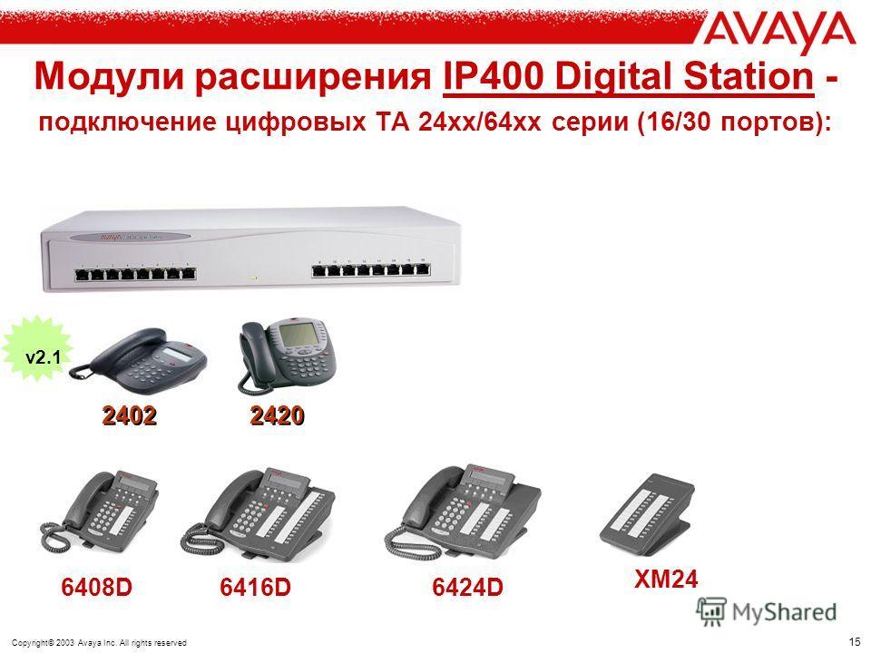 14 Copyright© 2003 Avaya Inc. All rights reserved Модули расширения Модуль 2-х проводных CO линий 16 портов Модуль аналоговых ТА / факс /модем 8/16/30 (тоновый набор) Interfaces So ISDN phones / Group 4 fax / Video WAN 3 10/100 3 Порта X.21 / V.35 /