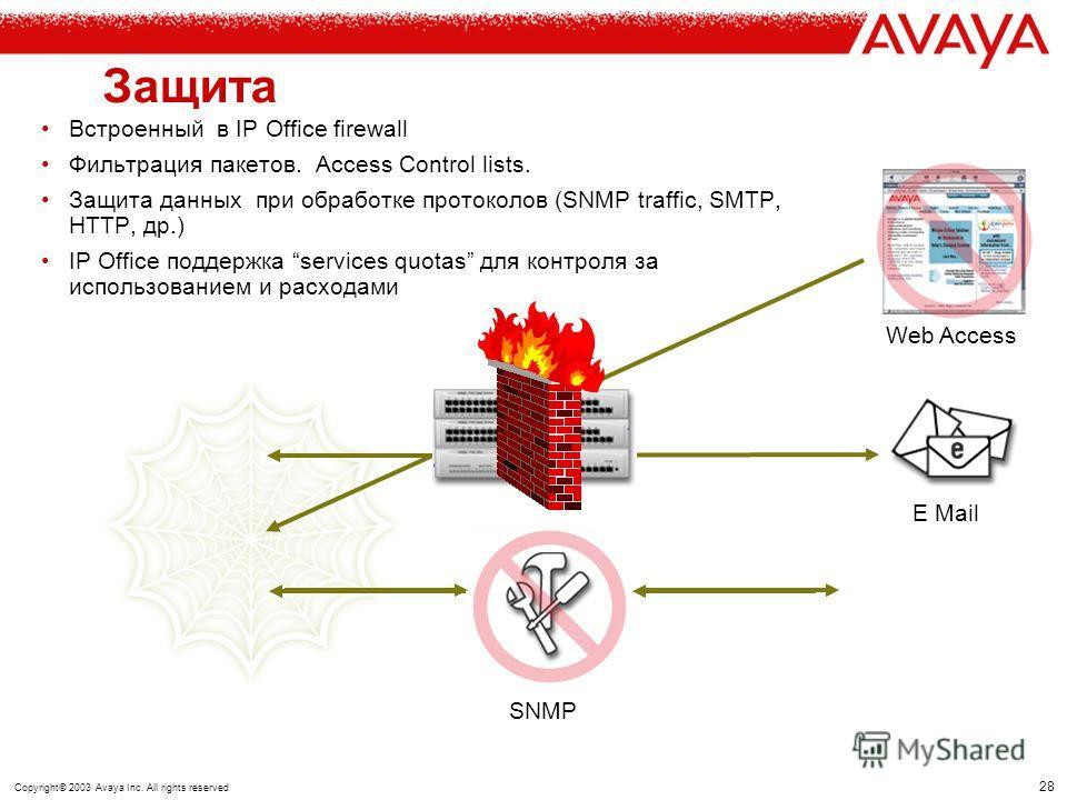 27 Copyright© 2003 Avaya Inc. All rights reserved Сервер удаленного доступа Доступ в сеть : –Через ISDN Router/TA –GSM/ Cellular –Аналоговый модем Защита –Встроенный Firewall или внешнее устройство защиты. –CHAP/PAP аутентификация –CLI Call-back –Tim