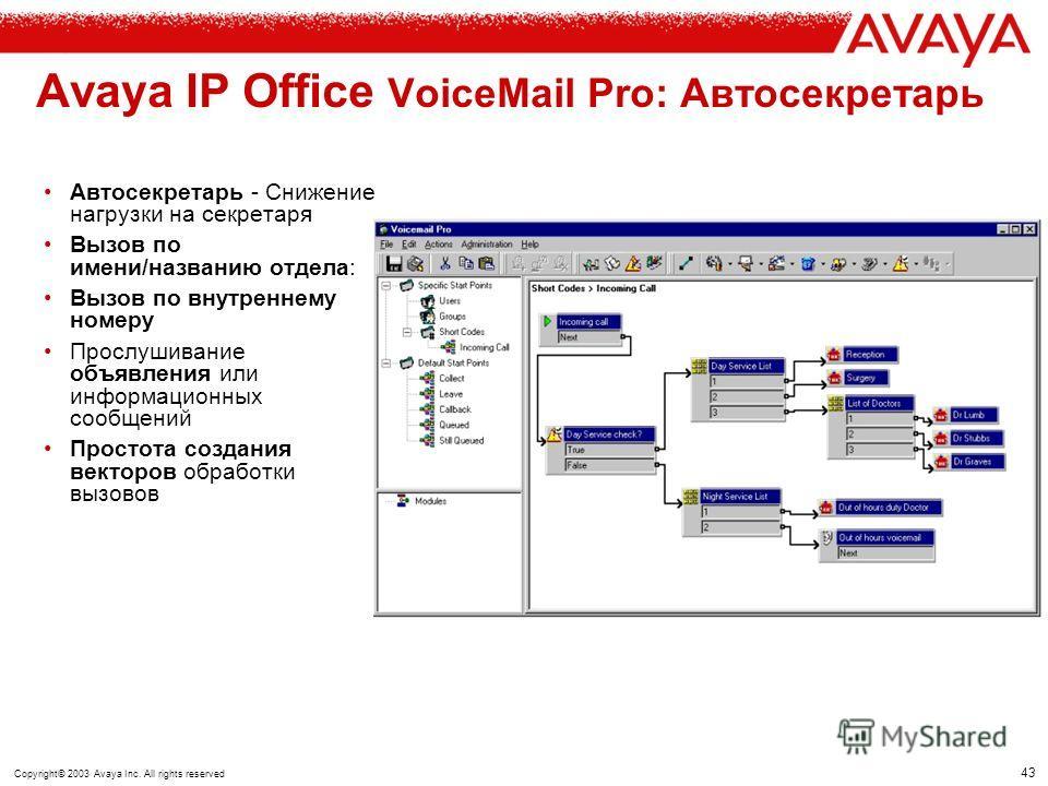 42 Copyright© 2003 Avaya Inc. All rights reserved Avaya IP Office VoiceMail Pro Многоуровневый Автосекретарь Интеграция с Microsoft Outlook (накопление и обработка голосовых сообщений как сообщений электронной почты) Централизованная голосовая почта