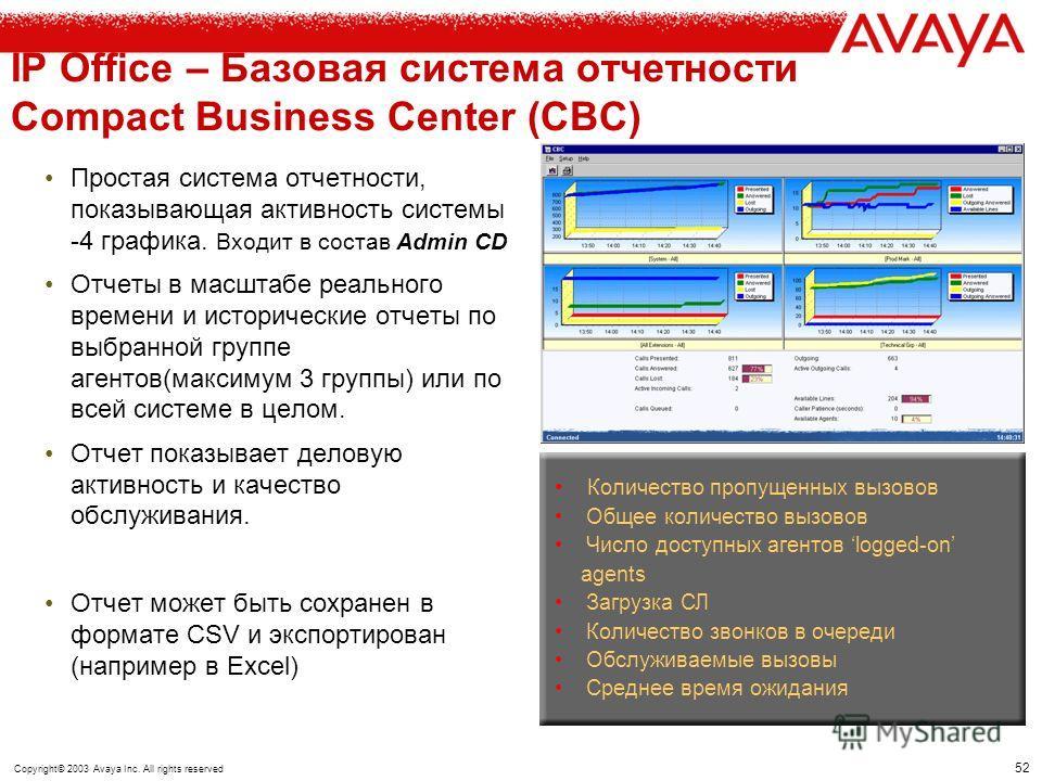 51 Copyright© 2003 Avaya Inc. All rights reserved IP Office – центр обработки вызовов Compact Business Center VoiceMail Lite (Базовое ПО IP Office) ССС Система отчетности Отчет в реальном времени Исторические отчеты Multimedia СС (Email, Web- chat, W