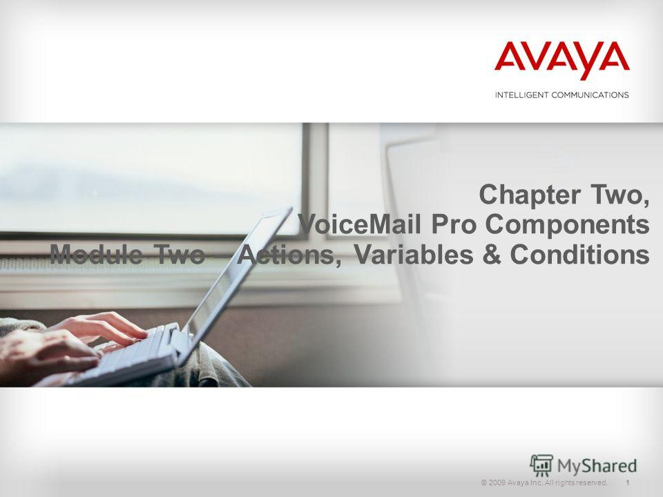 © 2009 Avaya Inc. All rights reserved.1 Chapter Two, VoiceMail Pro Components Module Two – Actions, Variables & Conditions