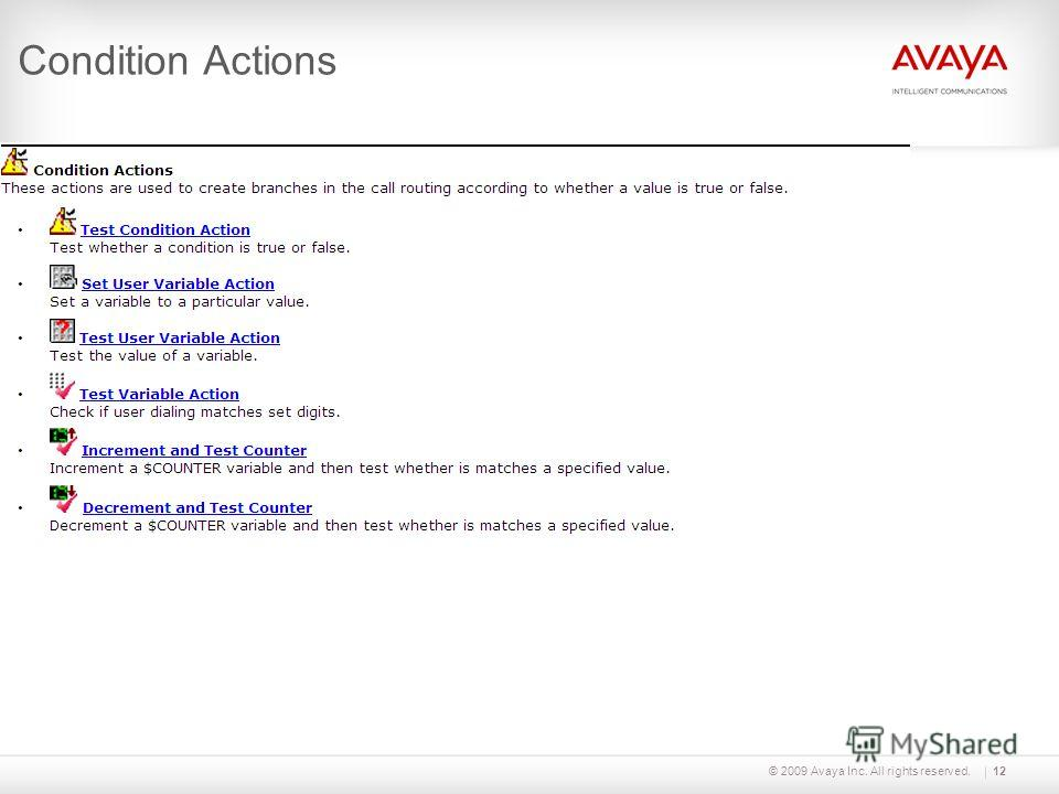 © 2009 Avaya Inc. All rights reserved.12 Condition Actions