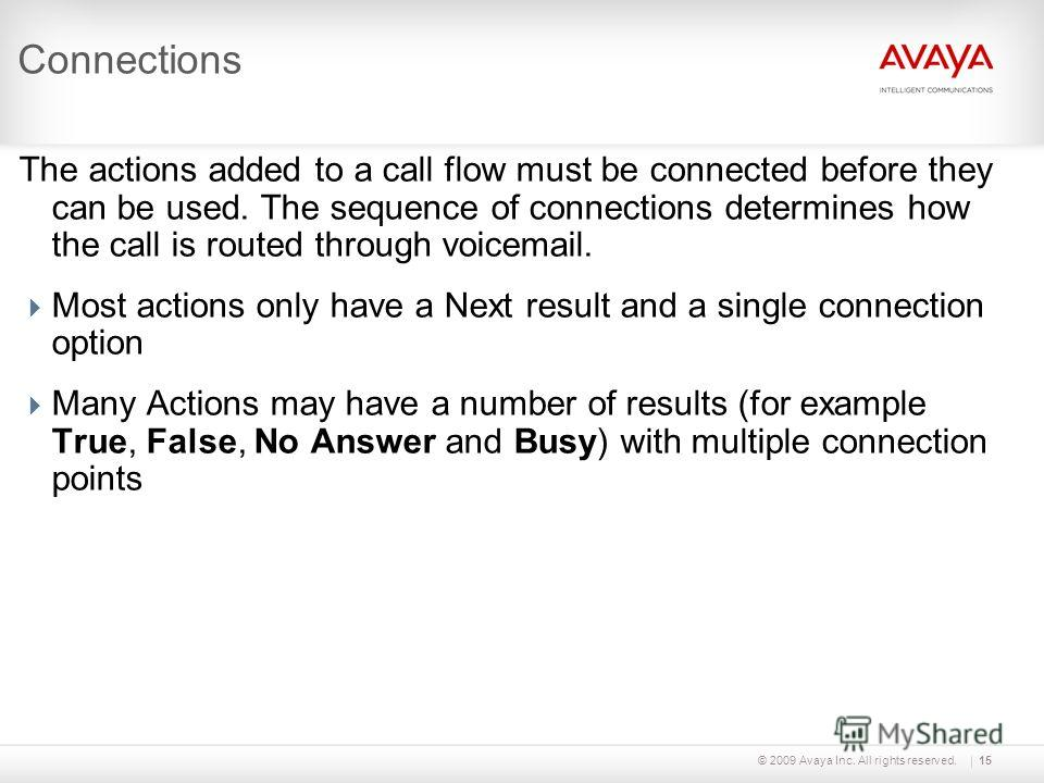 © 2009 Avaya Inc. All rights reserved.15 Connections The actions added to a call flow must be connected before they can be used. The sequence of connections determines how the call is routed through voicemail. Most actions only have a Next result and