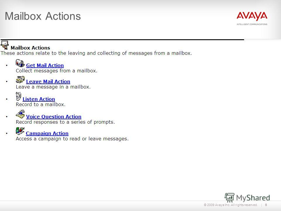 © 2009 Avaya Inc. All rights reserved.8 Mailbox Actions