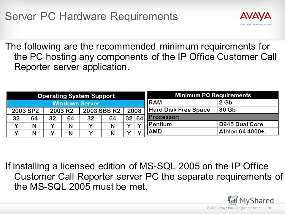 © 2009 Avaya Inc. All rights reserved.9 Server PC Hardware Requirements The following are the recommended minimum requirements for the PC hosting any components of the IP Office Customer Call Reporter server application. If installing a licensed edit