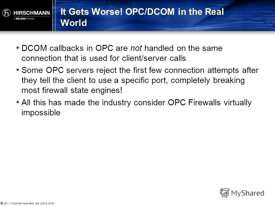 © 2011. Hirschmann Automation and Control GmbH © 2222 Rockwell-CSP Because OPC is free to use any port between 1024 and 65535 it is IT firewall unfriendly You dont know in advance what port the server will use So you cant define the firewall rule You