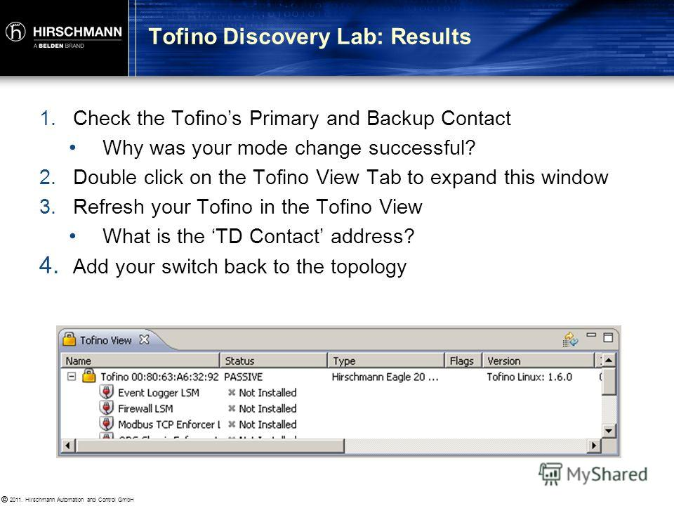 © 2011. Hirschmann Automation and Control GmbH © 1. Check Tofino Discovery view to confirm that the Tofino discovered is yours 2. Drag and drop the discovered Tofino to the correct place in your network 3. The Node Wizard should start – change the na