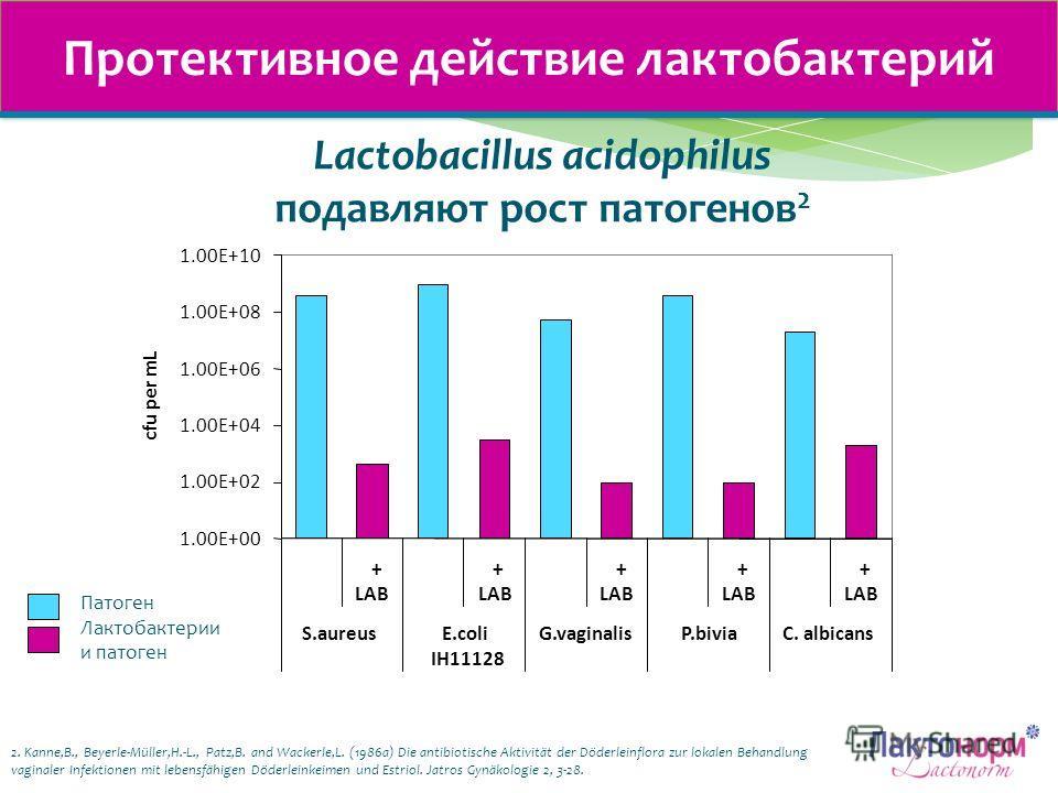 Протективное действие лактобактерий 1.00E+00 1.00E+02 1.00E+04 1.00E+06 1.00E+08 1.00E+10 + LAB + + + + S.aureusE.coli IH11128 G.vaginalisP.biviaC. albicans cfu per mL Патоген Лактобактерии и патоген 2. Kanne,B., Beyerle-Müller,H.-L., Patz,B. and Wac