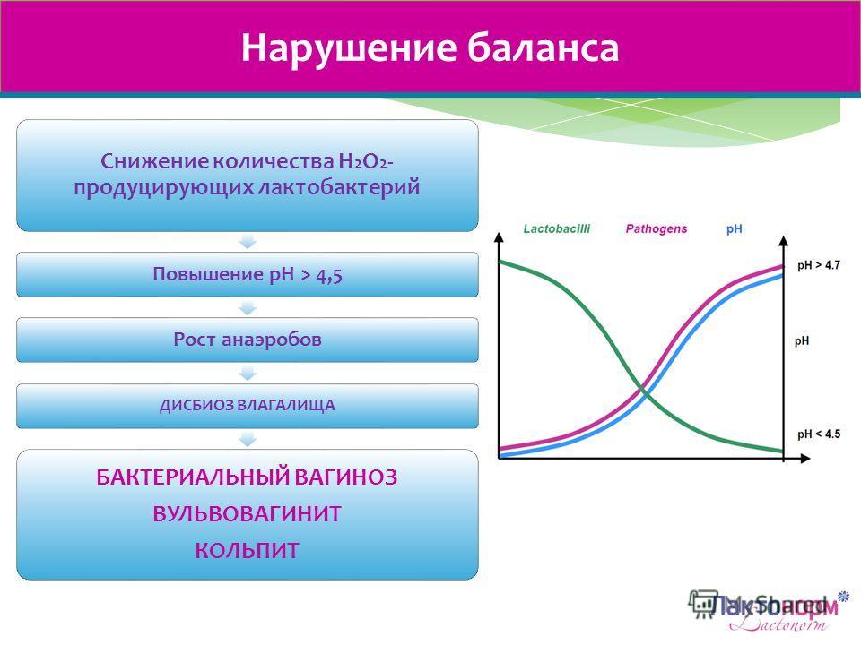 Нарушение баланса Снижение количества H 2 O 2 - продуцирующих лактобактерий Повышение рН > 4,5Рост анаэробов ДИСБИОЗ ВЛАГАЛИЩА БАКТЕРИАЛЬНЫЙ ВАГИНОЗ ВУЛЬВОВАГИНИТ КОЛЬПИТ