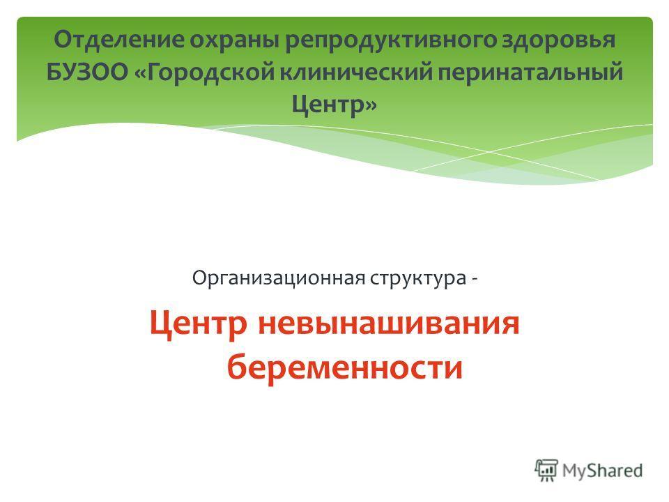 Организационная структура - Центр невынашивания беременности Отделение охраны репродуктивного здоровья БУЗОО «Городской клинический перинатальный Центр»