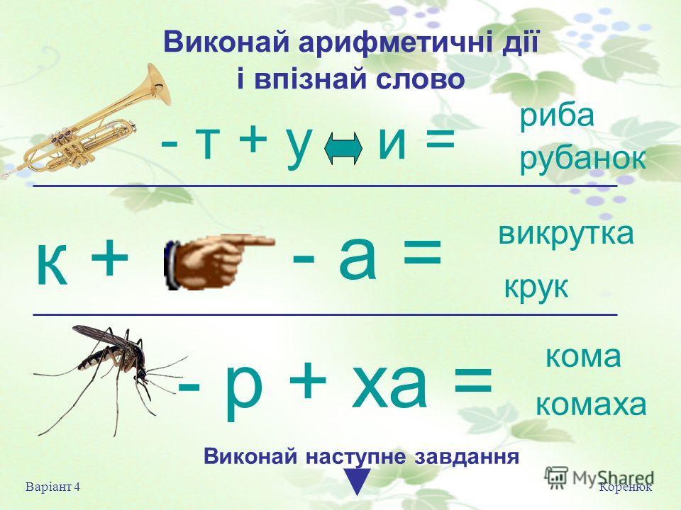 Виконай арифметичні дії і впізнай слово Коренюк Варіант 4 Виконай на ступне завдання рыба рубанок выкрутка круг комаха - т + у и = - а = - р + ха = к + кома