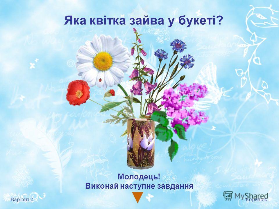 Яка квітка зайва у букеті? Коренюк Варіант 2 Молодець! Виконай на ступне завдання