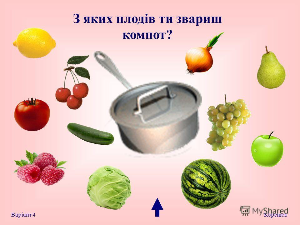 З яких плодів та звариш компот? Коренюк Варіант 4