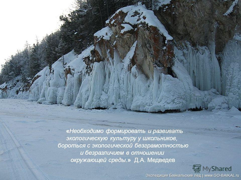 «Необходимо формировать и развивать экологическую культуру у школьников, бороться с экологической безграмотностью и безразличием в отношении окружающей среды.» Д.А. Медведев