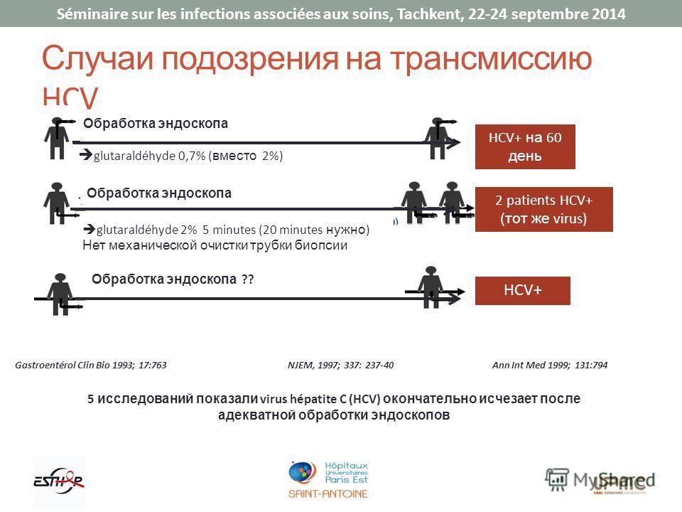 Séminaire sur les infections associées aux soins, Tachkent, 22-24 septembre 2014 Случаи подозрения на трансмиссию HCV HCV+ на 60 день HCV+ glutaraldéhyde 0,7% ( вместо 2%) Обработка эндоскопа glutaraldéhyde 2% 5 minutes (20 minutes нужно ) Нет механи