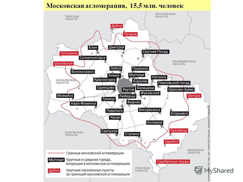 Московская агломерация, 15,5 млн. человек