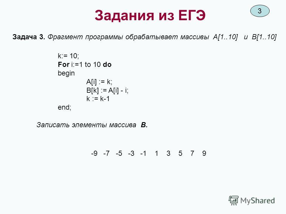 Задания из ЕГЭ Задача 3. Фрагмент программы обрабатывает массивы А[1..10] и В[1..10] k:= 10; For i:=1 to 10 do begin A[i] := k; B[k] := A[i] - i; k := k-1 end; Записать элементы массива В. -9 -7 -5 -3 -1 1 3 5 7 9 3