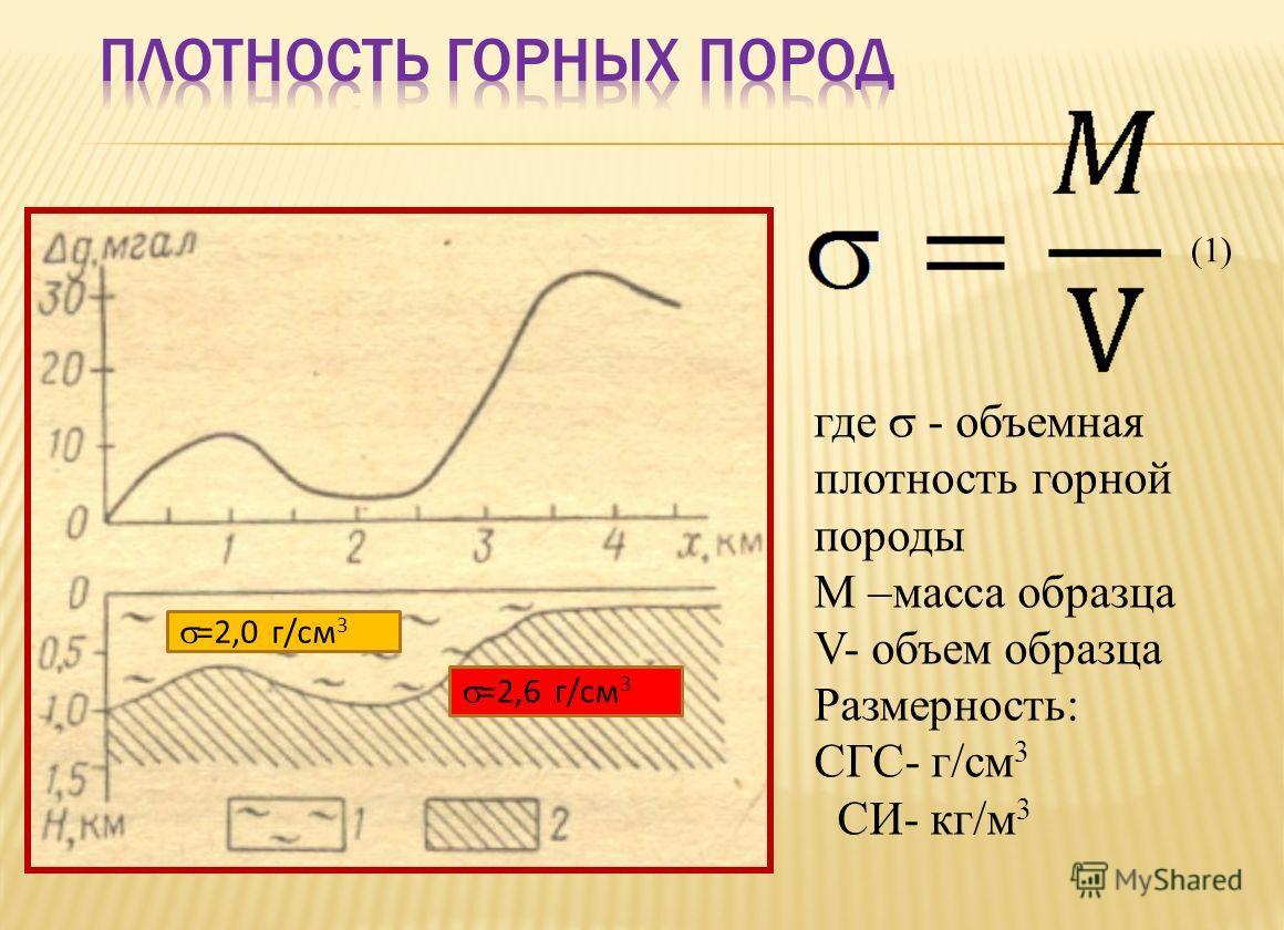 где - объемная плотность горной породы M –масса образца V- объем образца Размерность: СГС- г/см 3 СИ- кг/м 3 =2,0 г/см 3 =2,6 г/см 3 (1)