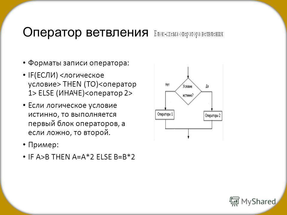 Оператор ветвления Форматы записи оператора: IF(ЕСЛИ) THEN (ТО) ELSE (ИНАЧЕ) Если логическое условие истинно, то выполняется первый блок операторов, а если ложно, то второй. Пример: IF А>В THEN А=А*2 ELSE В=В*2