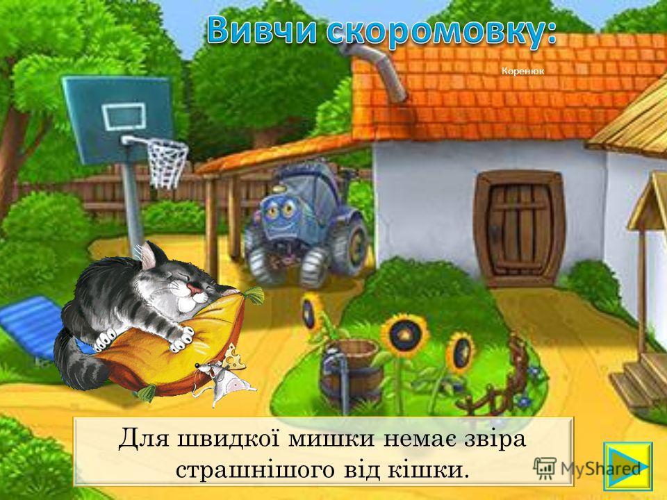 Коренюк Для швидкої мишки немає звіра страшнішого від кішки.