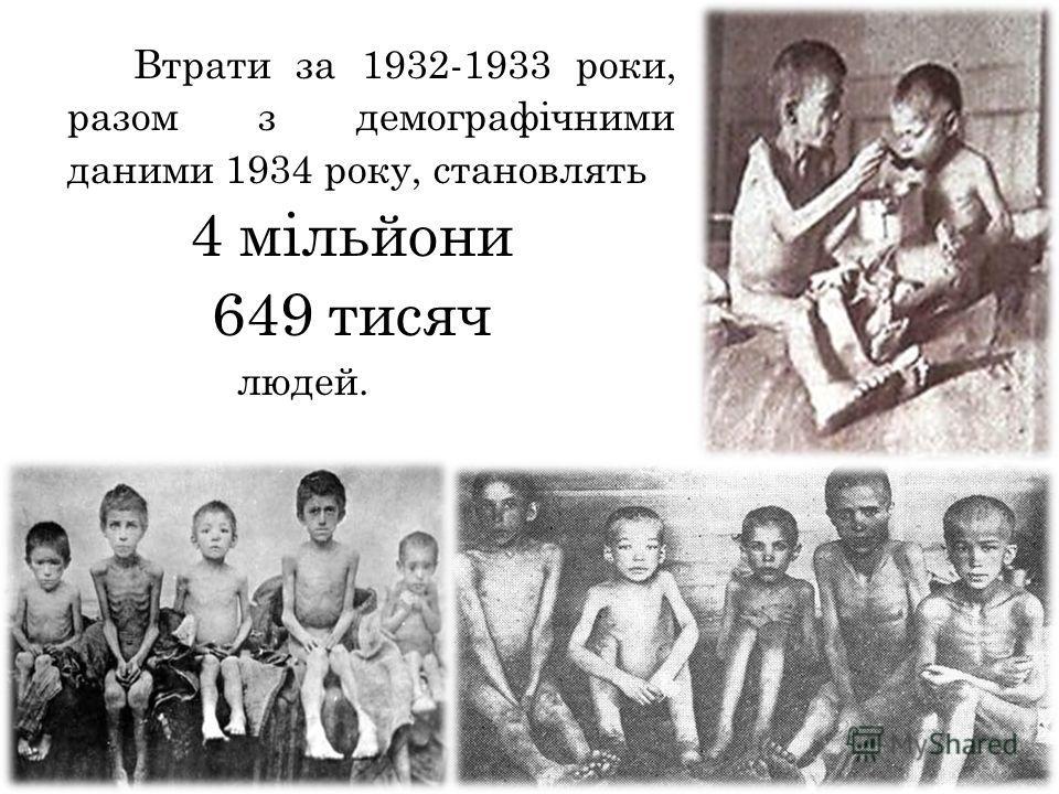 Втрати за 1932-1933 роки, разом з демографічними данными 1934 року, становлять 4 мільйони 649 тысяч людей.