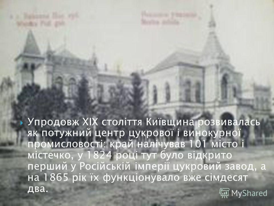 Упродовж ХІХ століття Київщина развивалась як потужний центр цукрової і винокурної промисловості: край налічував 101 місто і містечко, у 1824 році тут було відкрито перший у Російській імперії цукровий завод, а на 1865 рік їх функціонувало вже сімдес