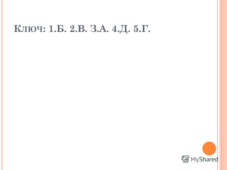 К ЛЮЧ : 1.Б. 2.В. З.А. 4.Д. 5.Г.