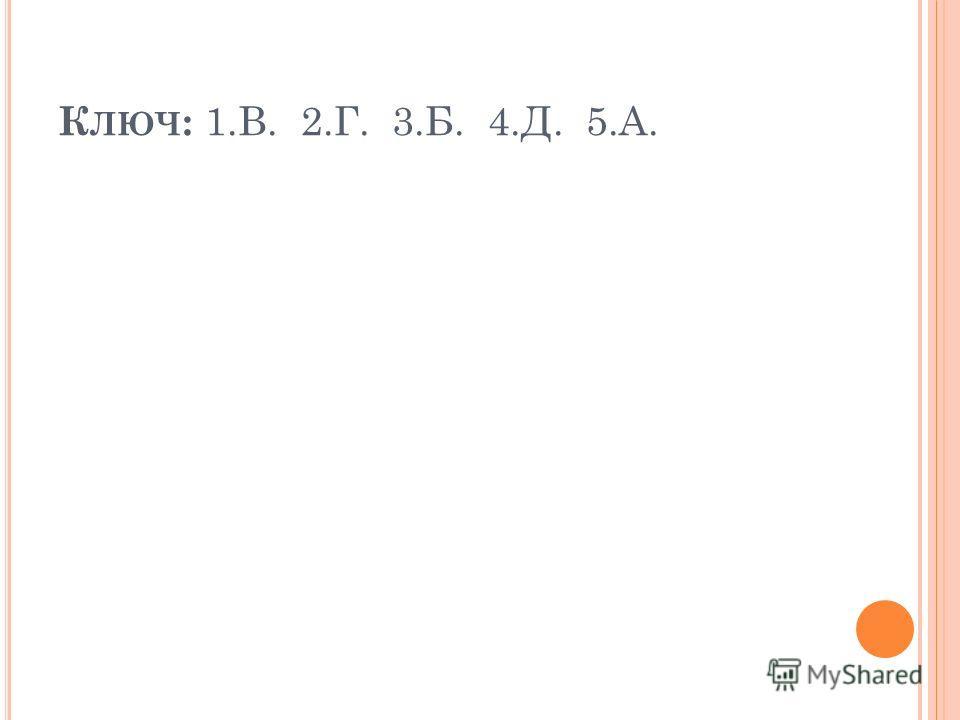 К ЛЮЧ : 1.В. 2.Г. 3.Б. 4.Д. 5.А.