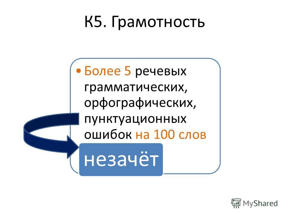 К5. Грамотность Более 5 речевых грамматических, орфографических, пунктуационных ошибок на 100 слов незачёт
