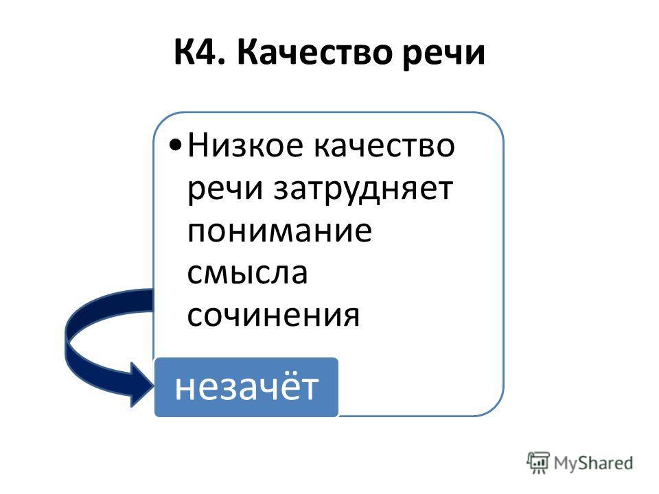 К4. Качество речи Низкое качество речи затрудняет понимание смысла сочинения незачёт