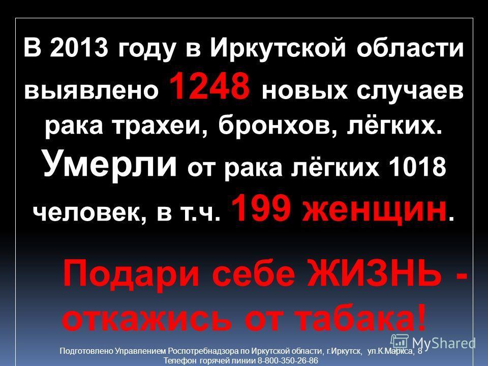 В 2013 году в Иркутской области выявлено 1248 новых случаев рака трахеи, бронхов, лёгких. Умерли от рака лёгких 1018 человек, в т.ч. 199 женщин. Подари себе ЖИЗНЬ - откажись от табака! Подготовлено Управлением Роспотребнадзора по Иркутской области, г