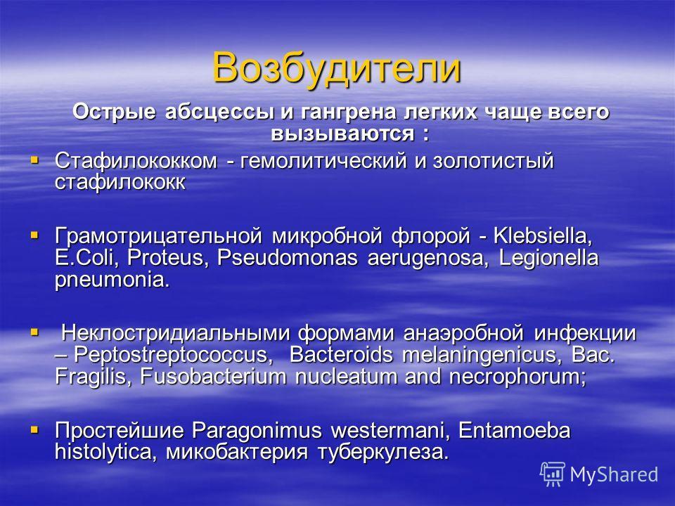 Возбудители Острые абсцессы и гангрена легких чаще всего вызываются : Острые абсцессы и гангрена легких чаще всего вызываются : Стафилококком - гемолитический и золотистый стафилококк Стафилококком - гемолитический и золотистый стафилококк Грамотрица