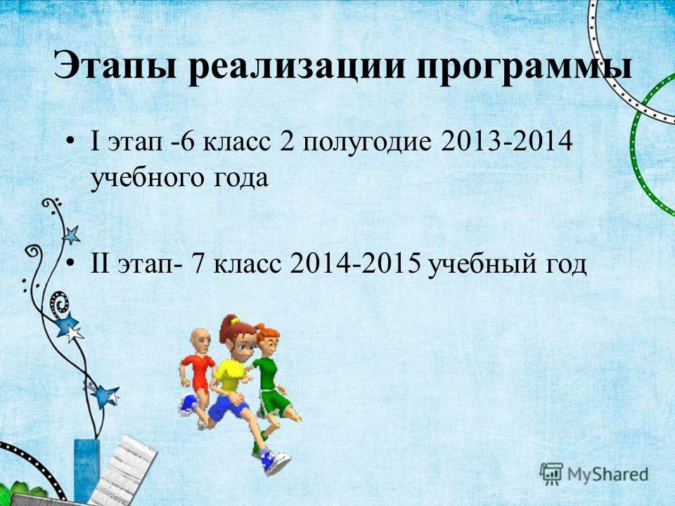 Этапы реализации программы I этап -6 класс 2 полугодие 2013-2014 учебного года II этап- 7 класс 2014-2015 учебный год