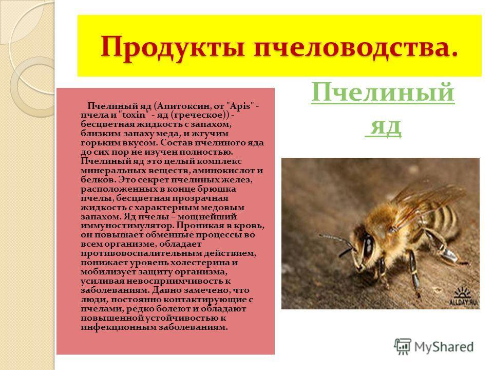 Продукты пчеловодства. Пчелиный яд (Апитоксин, от
