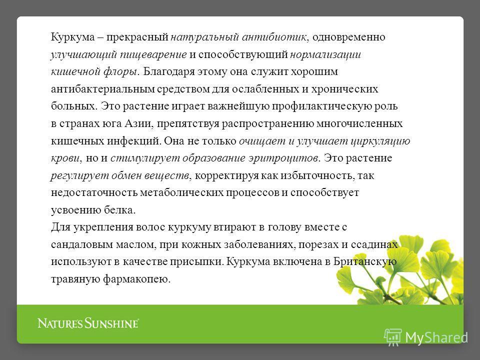 Куркума – прекрасный натуральный антибиотик, одновременно улучшающий пищеварение и способствующий нормализации кишечной флоры. Благодаря этому она служит хорошим антибактериальным средством для ослабленных и хронических больных. Это растение играет в