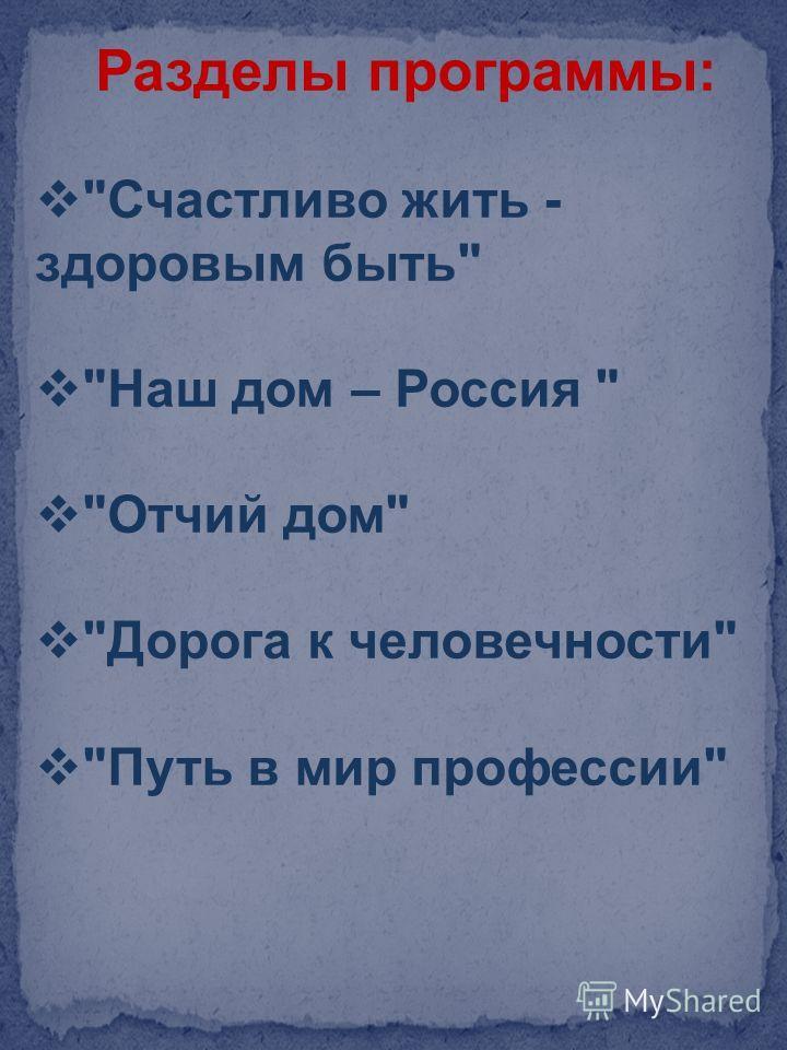 Разделы программы: Счастливо жить - здоровым быть Наш дом – Россия  Отчий дом Дорога к человечности Путь в мир профессии